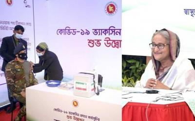 Vaccination kicks off in B'desh, Hasina thanks India for 2 mn doses
